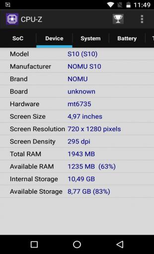 Nomu S10: технические характеристики