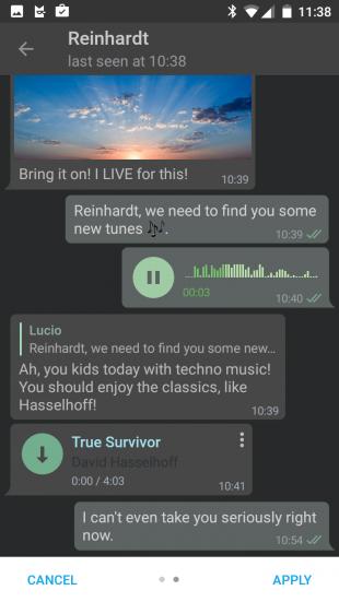 telegram для android: темная тема
