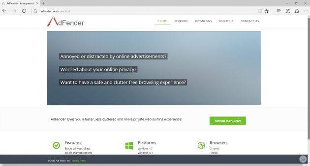 Как убрать рекламу: AdFender