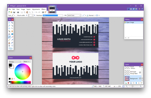 как открыть файл PSD: Paint.NET