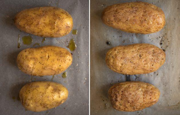 Как приготовить фаршированный картофель с сыром и беконом: подготовьте клубни картофеля