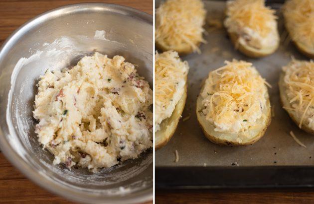 Как приготовить фаршированный картофель с сыром и беконом: распределите начинку по «чашечкам» и запеките картофель