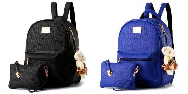 Стильный рюкзак с косметичкой и плюшевым мишкой