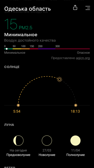 Today Weather: фазы луны и солнца