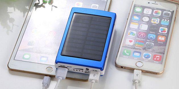 Внешний аккумулятор и солнечная батарея