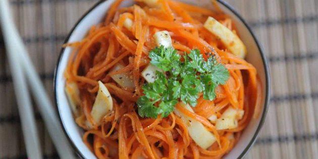 Салат с корейской морковью и кальмарами