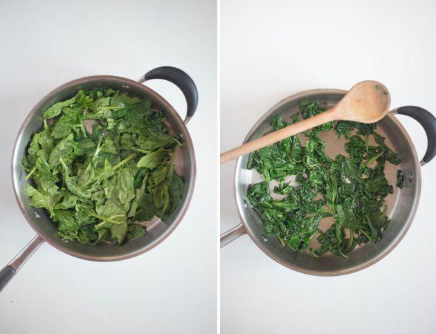 Итальянский сырный пирог: рецепт. Припустите вымытые и обсушенные листья шпината с каплей оливкового масла