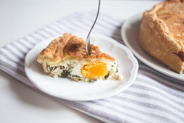 Итальянский сырный пирог в разрезе