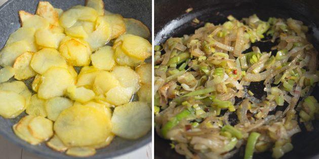 картофельный омлет: обжарьте лук и картофель