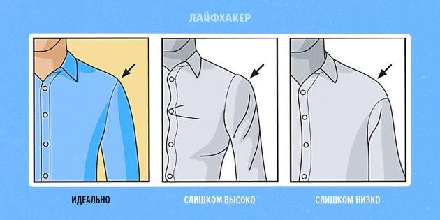 как подобрать рубашку: плечевой шов