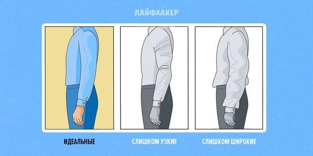 как подобрать рубашку: ширина рукавов