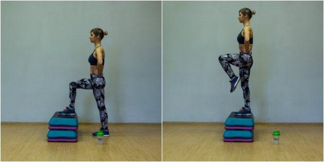 Упражнения для коленей: Зашагивание на возвышенность