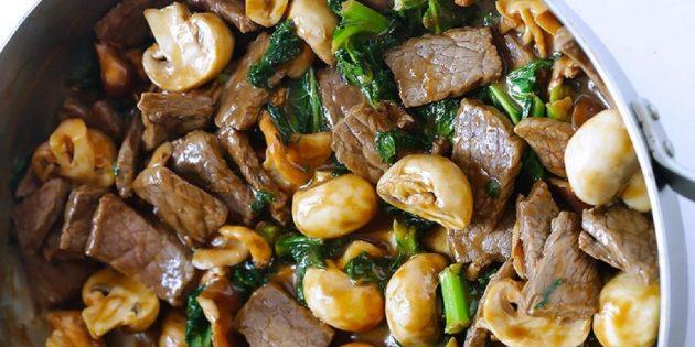 Салат с говядиной и грибами
