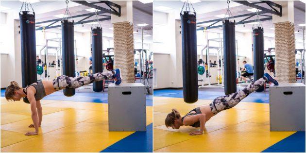 Домашние тренировки для начинающих: Отжимания с ногами на возвышении