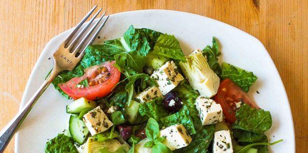 питание при тренировках: овощные салаты с тофу