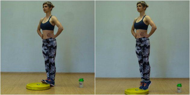 Упражнения для коленей: Подъём на носочки на блине