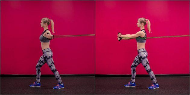 Упражнение с эспандером на грудь