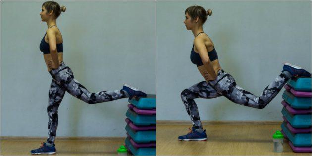 Упражнения для коленей: Сплит-присед на одной ноге