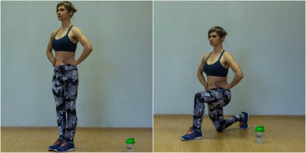 Упражнения для коленей: Выпады назад