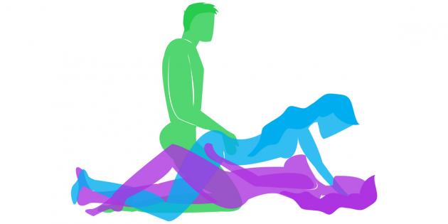 позы для секса втроём: двойное проникновение