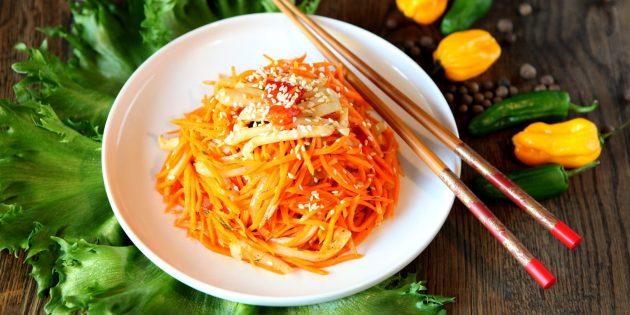 Рецепт салата с кальмарами и корейской морковью