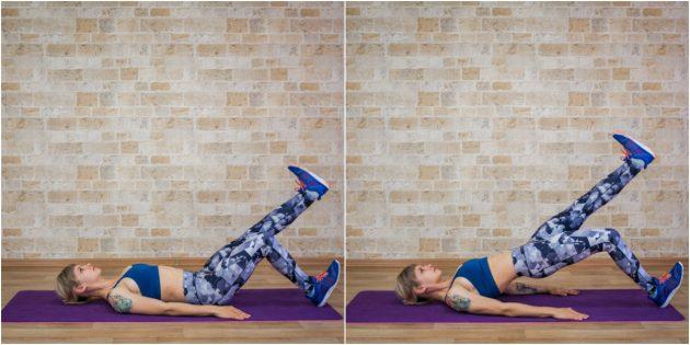 ягодичные мышцы: мостик с подъёмом ноги