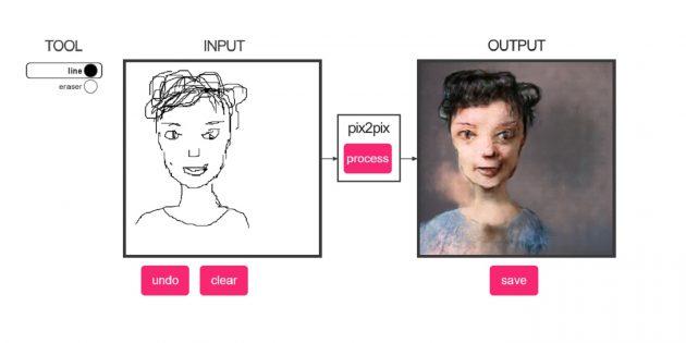 Нейросеть превращает наброски лиц в жуткие портреты