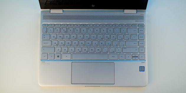HP Spectre x360: клавиатура