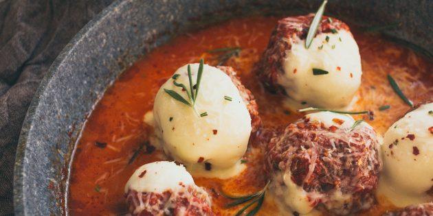 тефтели из говядины: моцарелла
