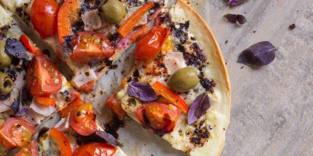 пицца из тортильи: готовое блюдо