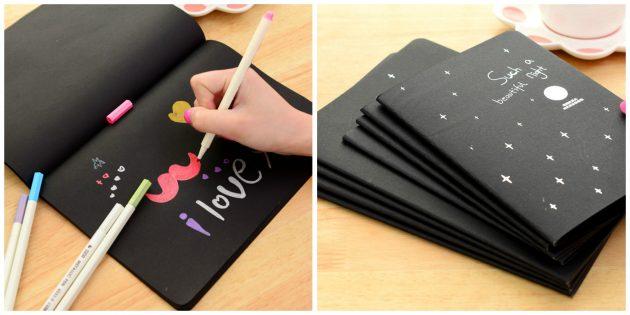 Скетчбук с чёрными листами