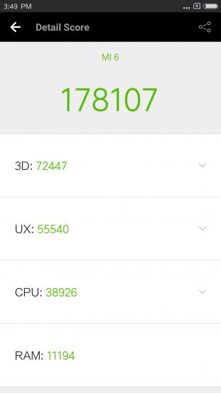 Xiaomi Mi6: производительность