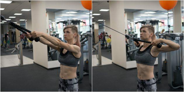 силовой спорт: тяга к подбородку в кроссовере