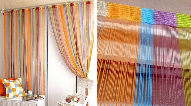 Разноцветные шторы-верёвочки