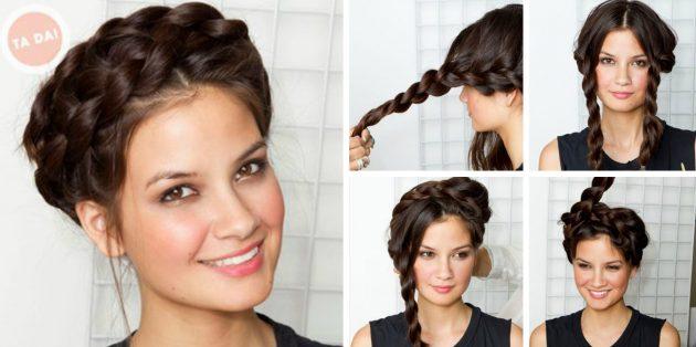 Причёски за 5 минут: Корзинка из кос