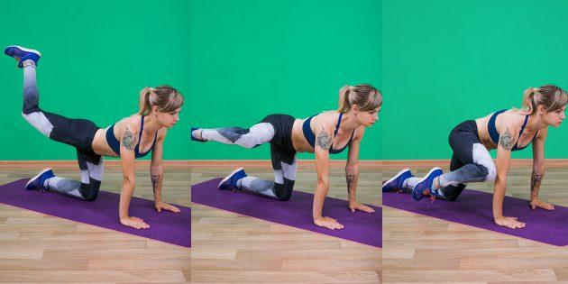 активирующие упражнения: круг ногой на четвереньках