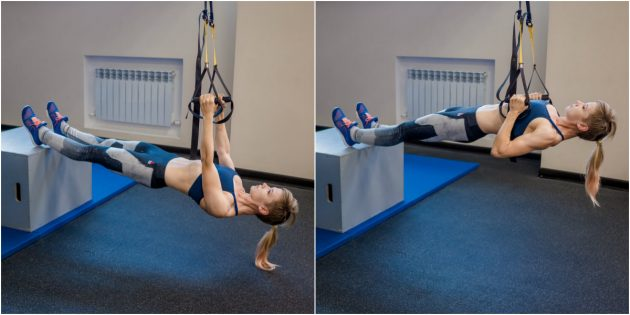 активирующие упражнения: подтягивание на кольцах с ногами на тумбе