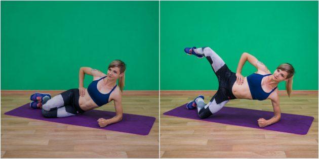 упражнения-филлеры: подъём ноги из боковой планки на коленях