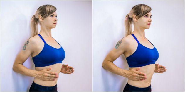 активирующие упражнения: растяжка у стены