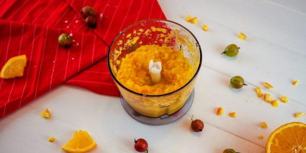 Простой рецепт варенья из крыжовника с апельсином: измельчите кусочки апельсина