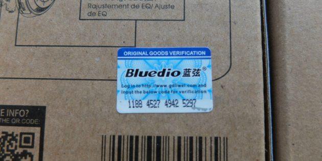 Голограмма на упаковке оригинальных Bluedio