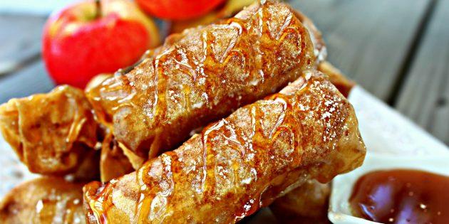 Рецепты с яблоками: Гренки-роллы с яблочной начинкой