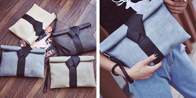 текстильный клатч-конверт