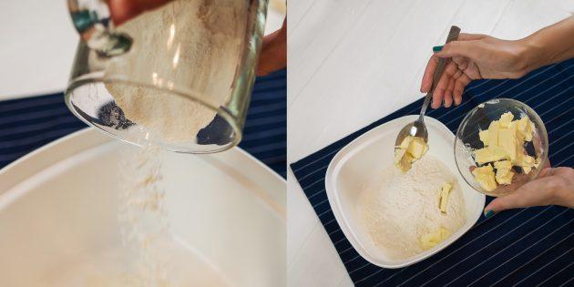 Киш с курицей и грибами: смешайте муку, соль и масло