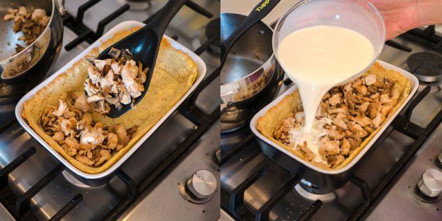 Киш с курицей и грибами: добавьте начинку и заливку