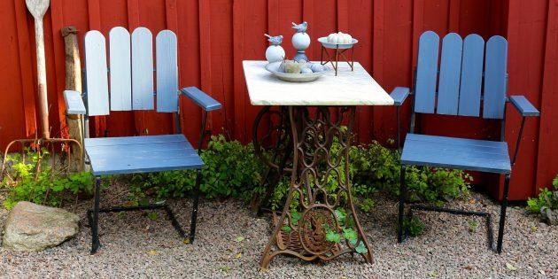 цветовые акценты в интерьере: садовая мебель