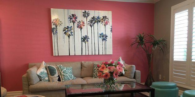 цветовые акценты в интерьере: стена