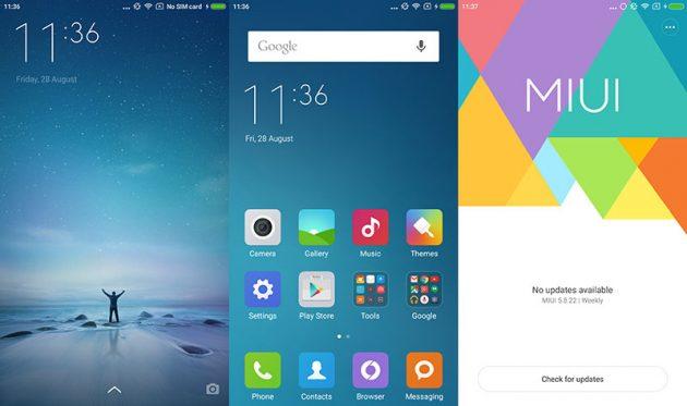 MIUI design, чистый андроид