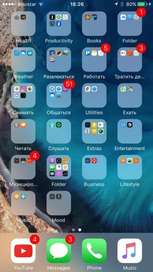 сортировка иконок: папки на одном экране
