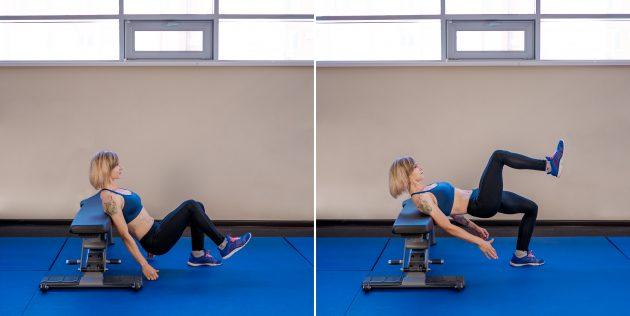 ягодичные мышцы: подъём бёдер на одной ноге